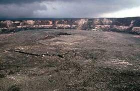 Haleamaumau crater in the center of the Kilauea caldera - the heart of Kilauea volcano, Big Island