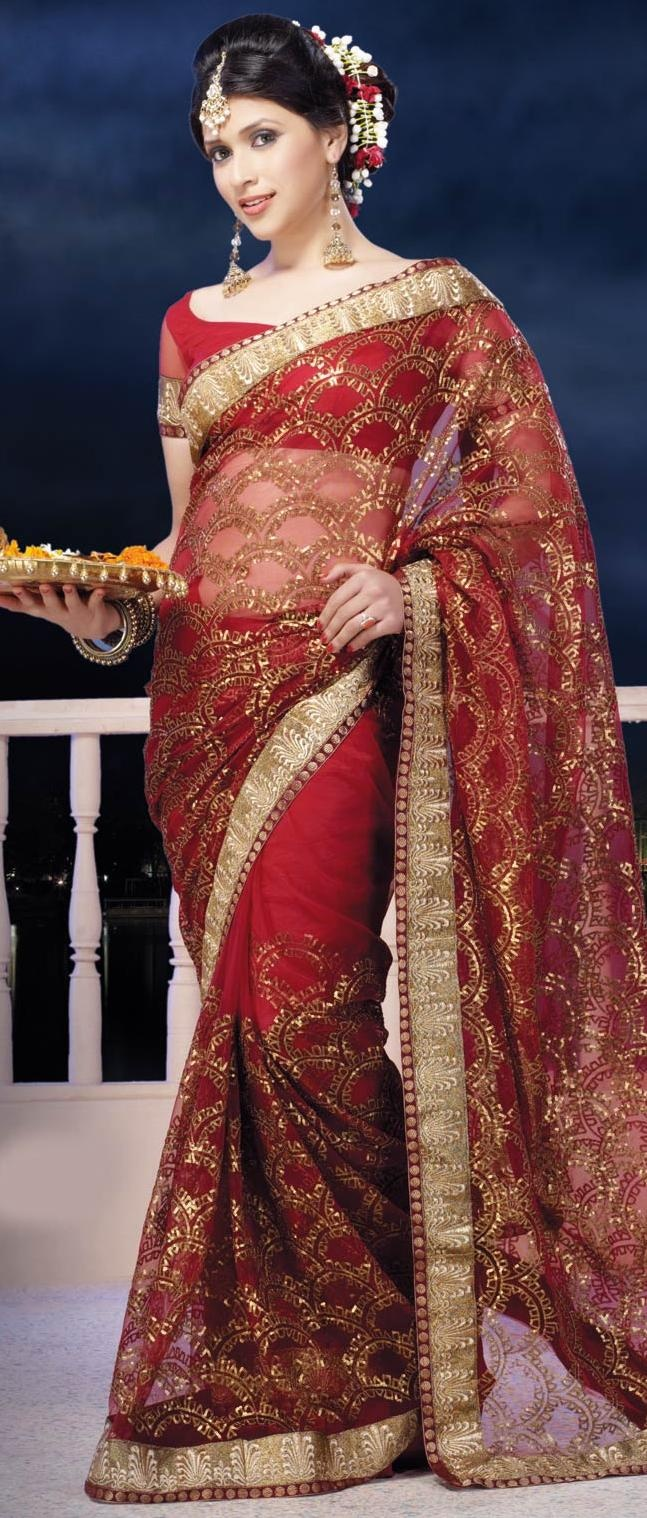 #Red Net #Saree with #Blouse @ US $97.43 | Shop Here: http://www.utsavfashion.com/store/sarees-large.aspx?icode=sxk571