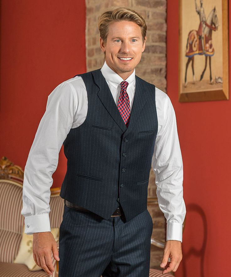 Nadelstreifen- Anzug-Weste (Baukasten-System-Anzug), blau  zum fairen Preis im Daniels & Korff Shop bestellen.