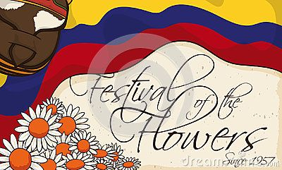 Banner with traditional elements for Colombian Festival of the Flowers written in Spanish: carriel bag, Colombian flag and daisies over scroll with greetings.