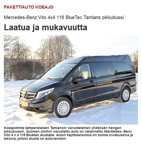 Auto tekniikka ja kuljetus koeajoi Tamlansin Mercedes-Benz Vito 4 x 4 116 BlueTec -alustalle varusteleman yhdeksän hengen pikkubussin. Lue lehden arvio verkkosivuiltamme: http://www.tamlans.fi/fi/auto-tekniikka-ja-kuljetus-koeajoi-tamlansin-varusteleman-mercedes-benz-viton/  Finnish Auto tekniikka ja kuljetus -magazine tested Tamlans Mercedes-Benz Vito 4 x 4 116 BlueTec minibus.