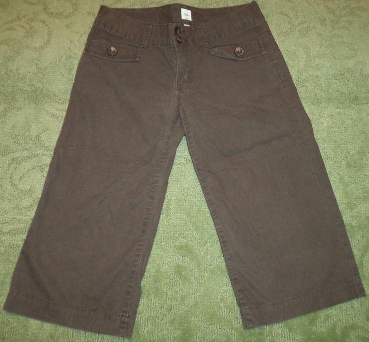 Ladies Gap Dark Brown Cropped Capri Pants Chino Style Capris Size ...