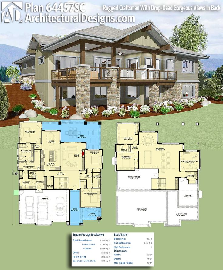 Lake house plans on sloping lot for Waterfront home plans sloping lots