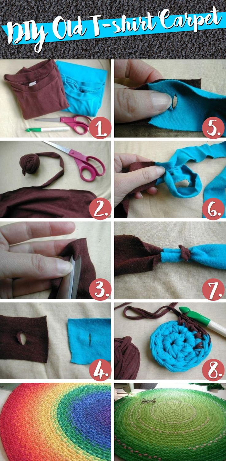 Put those Old Tees to Wonderful Use with this DIY Old T-shirt Carpet! #diy #old #t-shirt