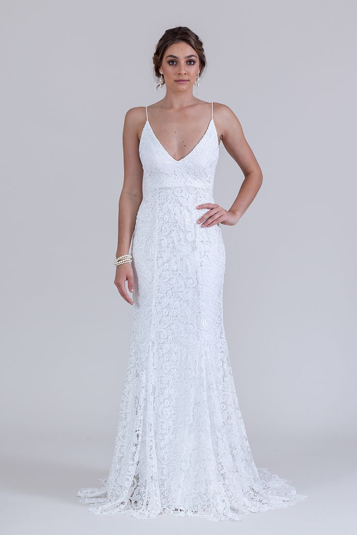 Charlie Gown in Ivory with shoestring straps