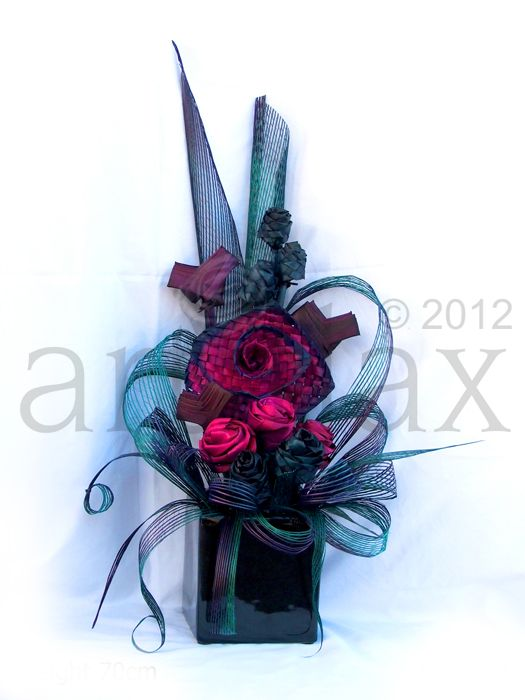 Artiflax - corporate / wedding centrepieces, pink, purple, blue and turquoise flax flowers
