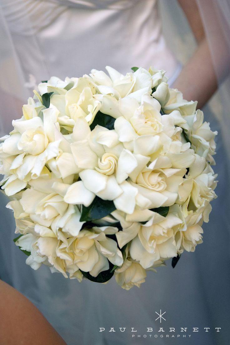 A gorgeous all white gardenia bridal bouquet!