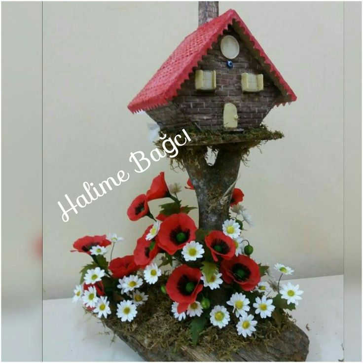 Ceramic flowers Seramik Seramik çiçek  bird house Kuş evi