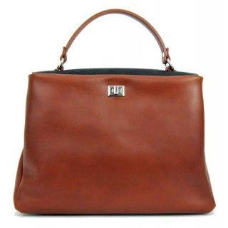 Ivona - geanta din piele naturala - maro - capac zafiat