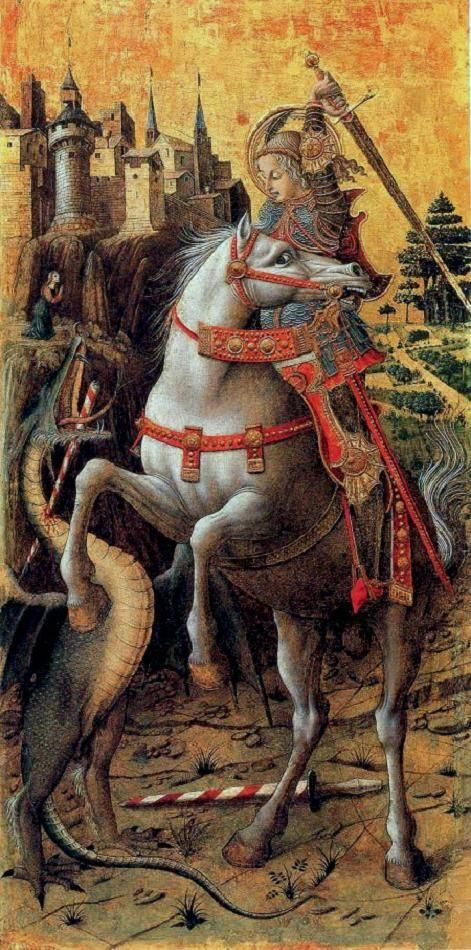"""Carlo Crivelli. Saint George and the Dragon. 1470. Berenson described it to Mrs. Gardner as """"more woderful than any Japanese lacquer... drawn as if by lightning"""" before he bought it for her in 1897. Though little is known of Saint George, who is here portrayed as a medieval knight, his traditional role as dragon slayer and protector of a virgin seems to be derived from the Perseus-Andromeda legend centered around Lydda in Palestine, where Saint George was martyred about the year 300. Image…"""