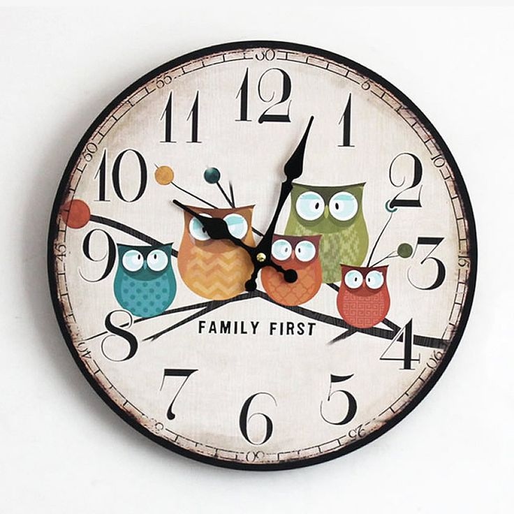 DIY Wooden Wall clock Home Decor Large Electronic Clock 5 Owl Theme Plastic Cover Craft Gadgets reloj Saat Wall Clock 35*35CM