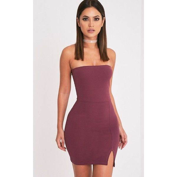 Aubergine Split Detail Bandeau Bodycon Dress ($13) ❤ liked on Polyvore featuring dresses, purple, going out dresses, cocktail party dress, form fitted dresses, night out dresses and aubergine dress