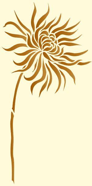 Chrysanthemum Flower Stencil 1. Flower Stencil. Large Chrysanthemum Wall Stencil