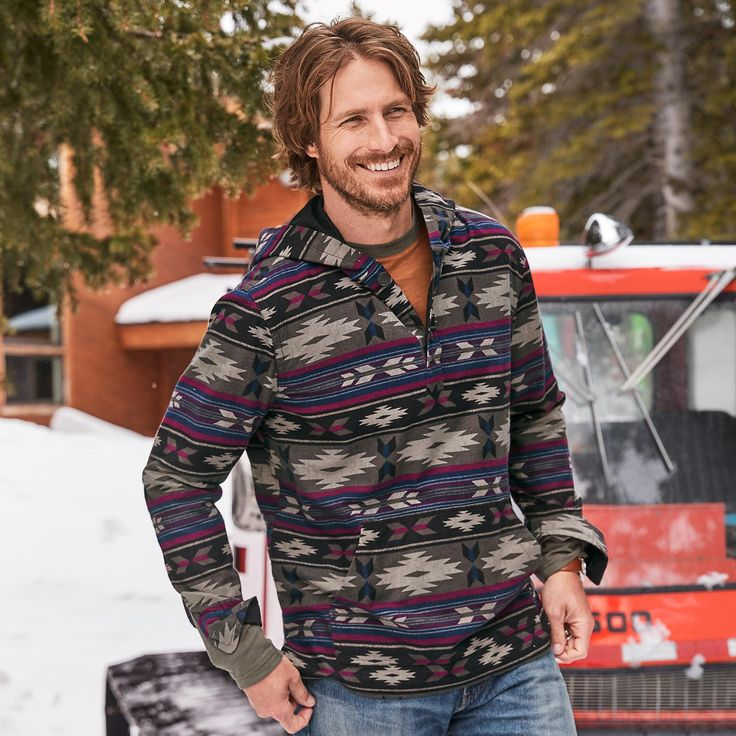VISION QUEST HOODIE--Chilling out is a no-brainer in this comfortable hoodie in a Southwestern-inspired pattern. Button placket. Cotton. Machine wash. Imported. Sundance exclusive. Sizes S (34 to 36), M (38 to 40), L (42 to 44), XL (46 to 48), XXL (50 to 52).