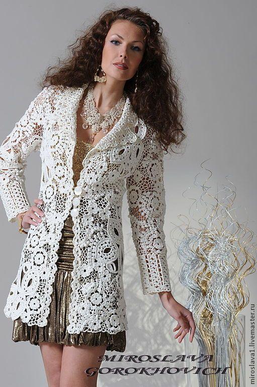 Купить Кружево от Мирославы Горохович №11 - Вязание крючком, белый, цветочный, ирландское кружево