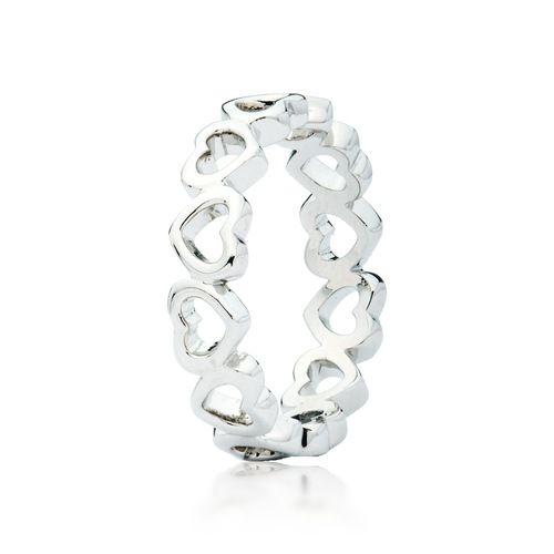 Hearts Stackable Ring Rhodium Plated