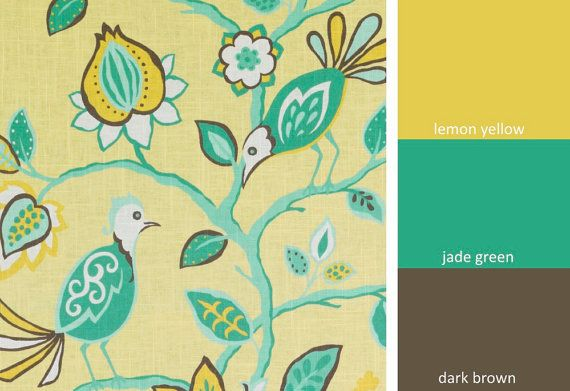 A unique linen drapery and light upholstery fabric in a whimsical bird design of jade green, dark brown and white on a lemon yellow background. Please look at the full scale yard image above to see how this design is oriented in full vertical stripes. This home decor fabric is suitable for light furniture upholstery, drapery, roman shades, throw pillows and headboards. See additional color links, curtain/roman shade information and custom pillow cover pricing below. This listing is for f...