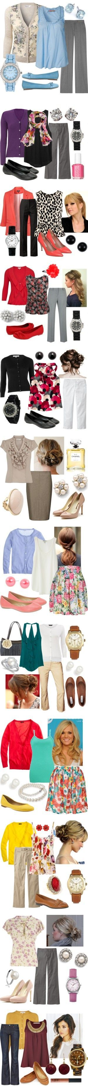 These outfits would look great to wear to school!! They each have a lovely pop of color and sense of comfort to them.