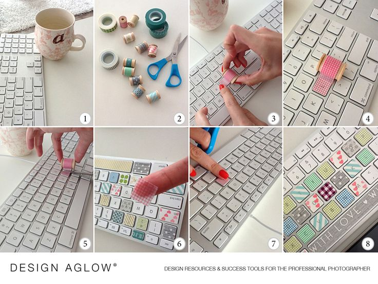 DIY...Washi-tape:  (find this at your local craft store or on etsy.com)  Scissors,  Keyboard – preferably one with flat keys & Time to create your colorful Masterpiece!