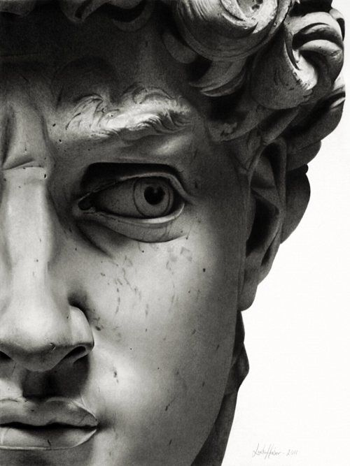 David's Face by Michelangelo: Sculpture, Statue, Florence Italy, Linda Huber, The Faces, Pencil Drawings, Michelangelo David, Pencil Art, Eye