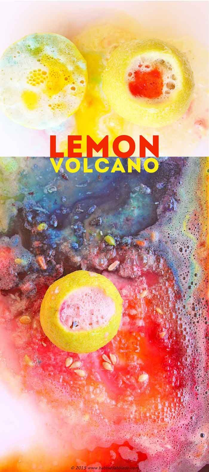 Try this easy science activity for kids: make lemon volcanoes and watch the chemical reaction of citric acid and baking soda.