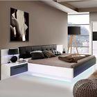 Bettanlage Bett 180x200cm Recover weiß hochglanz Eiche schwarz Nachtkommode LED