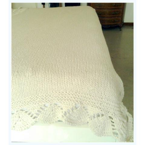 manta para cama y sillon puro algodon con borde de crochet esta manta mide 1 20 x 2 20 o 1 50 x. Black Bedroom Furniture Sets. Home Design Ideas