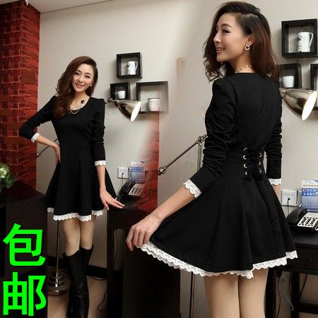 awesome #fashion #dress #apparel #clothing Sexy dress Women's spring and autumn long-sleeve dress slim basic lace decoration plus size one-piece dress