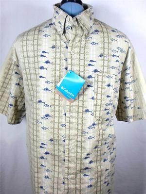 New columbia men 39 s pfg fishing shirt deep sea print for Fish print shirt