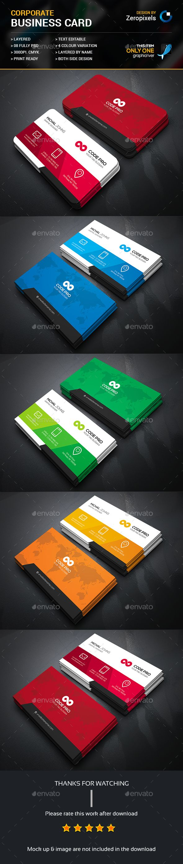 Creative Corporate Business Card Template PSD. Download here: http://graphicriver.net/item/creative-corporate-business-card/16458675?ref=ksioks