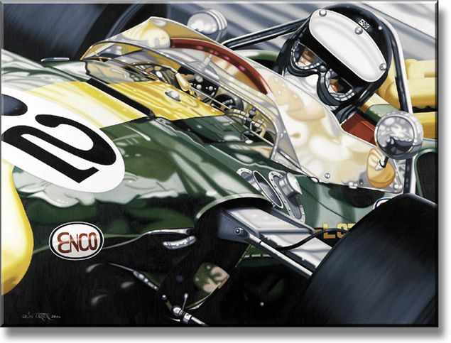 """Jim in the USA"" 1965 Lotus 38 and Jim Clark (by Colin Carter, limited edition print of 250, Giclée on canvas, size 122cm x 91.5cm)"