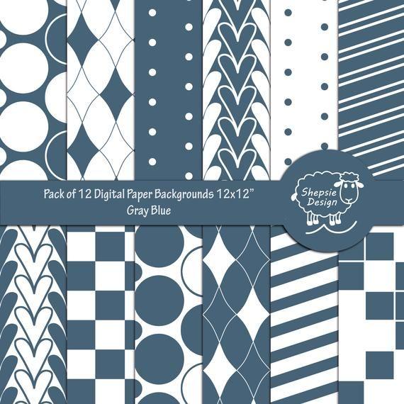 Gray Blue Printable Digital Paper Geometric Designs Digital Paper Digital Scrapbooking Coordinate Paper