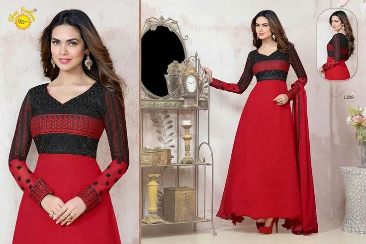 Deal of the day @2999 Red Semi-stitched #designer outfit only at www.themagicalthread.com #desistyle #indianfashion #indianwedding #designerwear