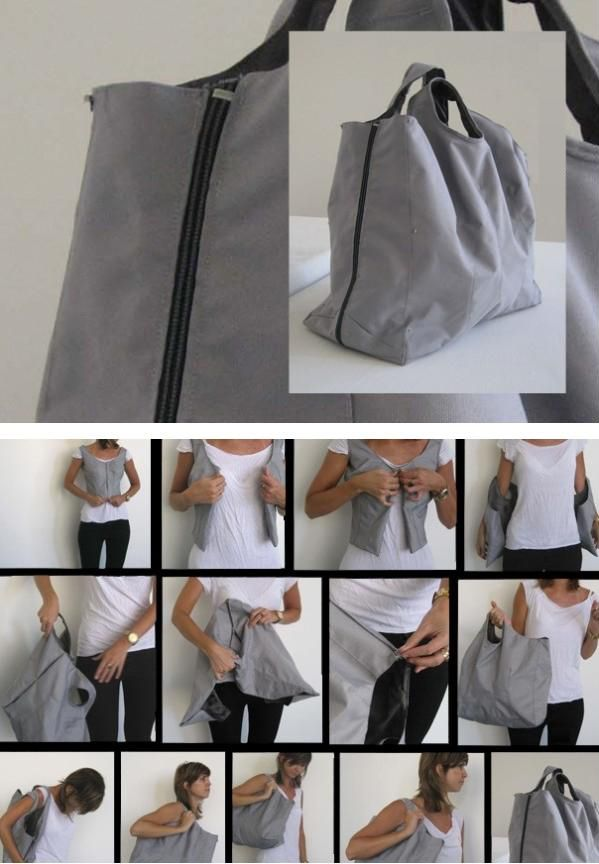 """EcoVest"" Converts to a Bag – Free Photo Collage and Guide – Sewing Inspiration?! + How to install a zipper without using a zipper foot! #sewing #upcycling"