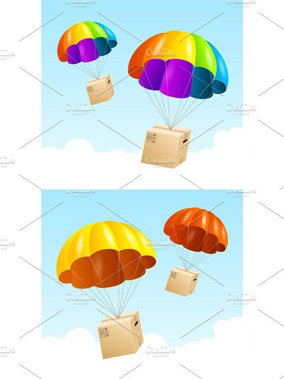 Colorful Parachute Background With Images Postcard Design Background Color