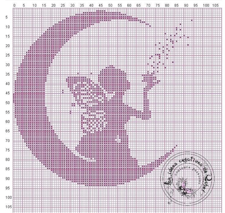 The Moon Fairy cross stitch chart / pattern monochrome