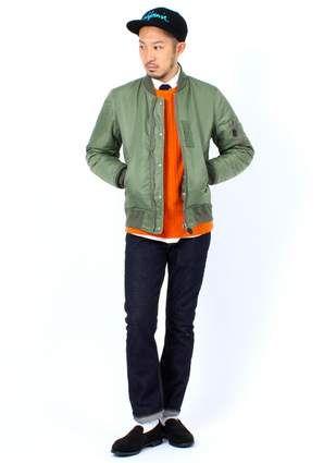 Military Jacket with orange shirt