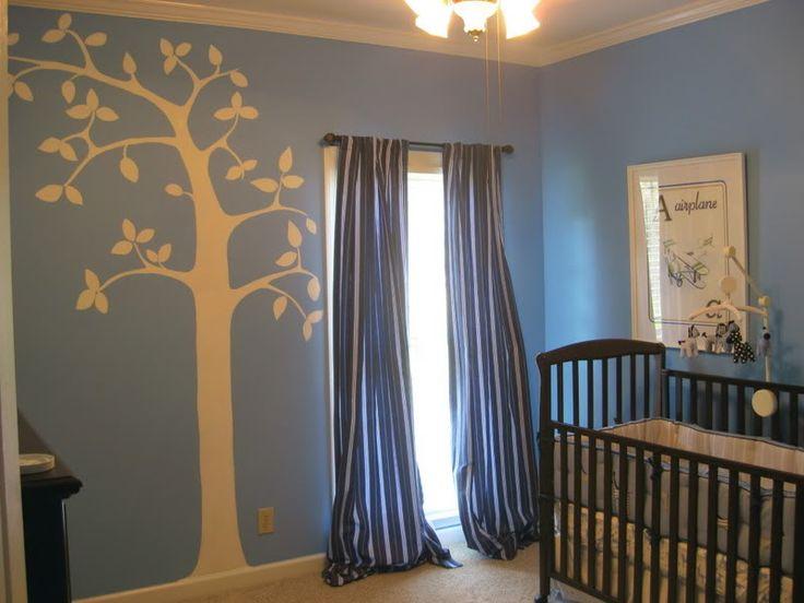 white tree silhouette on blue #DiaperscomNursery