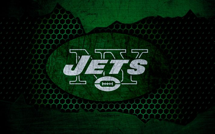 Download wallpapers New York Jets, 4k, logo, NFL, american football, AFC, USA, grunge, metal texture, East Division