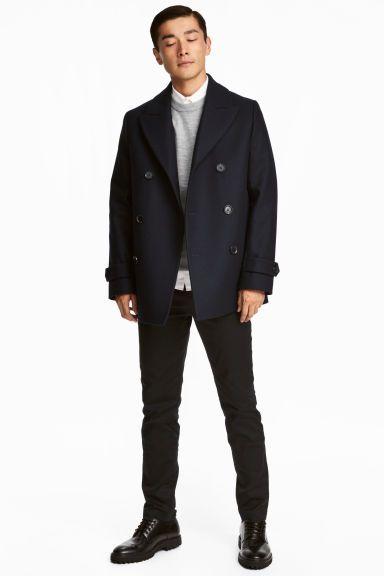 Casaco de marinheiro com lã - Azul escuro - HOMEM   H&M PT
