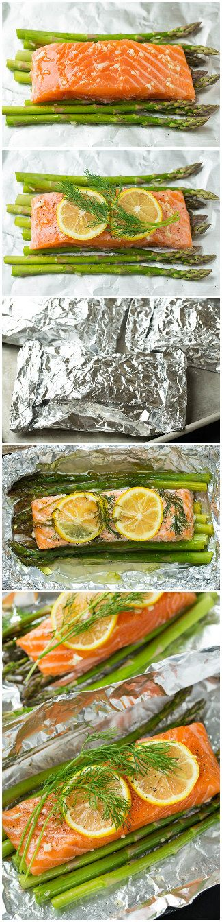 Salmon and Asparagus in Foil. For fish lovers this recipe will be real godsend. You just have to take salmon, arrange it with additional ingredients in the foil. With this recipe you can improvise and combine salmon with products to your taste. You will get aromatic fish which absorbed the best qualities of additional products.