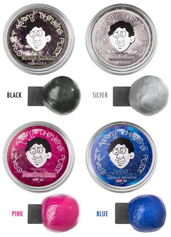 Choose between Black, Silver, Pink, and Blue Magnetic Thinking Putty.