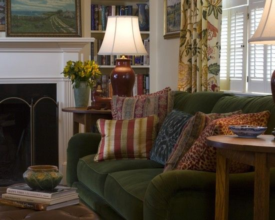 Hmm...traditional Looking Family Room   More Green Couch Design Ideas?