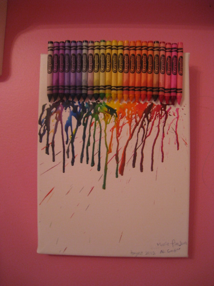 Crayola Canvas Melt - I made this :) It's very easy! Glue crayons (I use Crayola) on the top of a canvas and use a blowdryer to melt the crayons onto the canvas. Enjoy! This takes about a half hour to create! :)