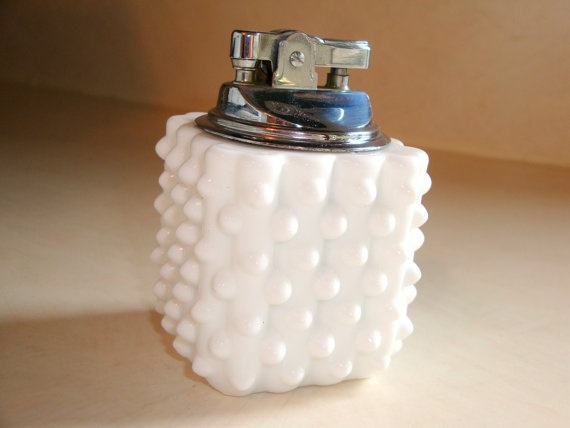 milk glass hobnail table lighter $13.00