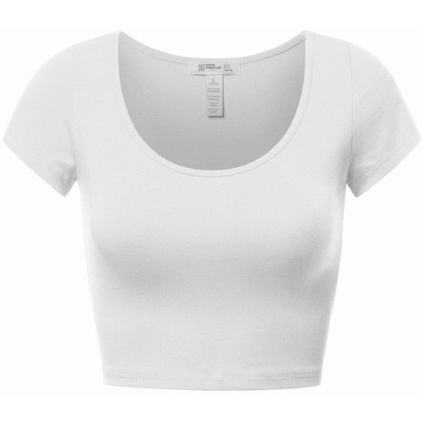 4069c8fa5f82d9 FPT Womens Basic Short Sleeve Scoopneck Crop Top (4.55 CAD) ❤ liked on  Polyvore