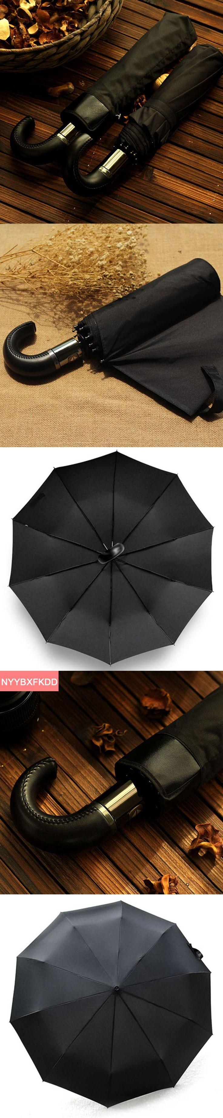 Cortical Curved Handle 10 Bone Large Fully automatic Pongee UV Adult Men's Business Folding Sunny / Rain Umbrella Women / Men