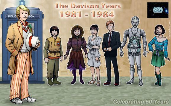 The Fifth Doctor and his Companions - Adric, Nyssa, Tegan, Vislor, Kamelion, & Peri!