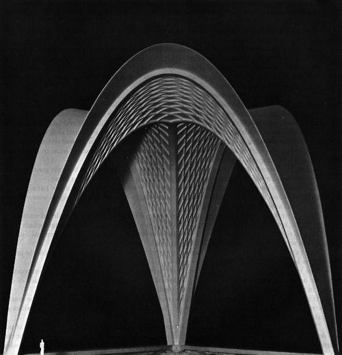 Pier Luiji Nervi, Roof Structure: Three Parabolic Vaults, 100' High, Spanning 115', 1959-61