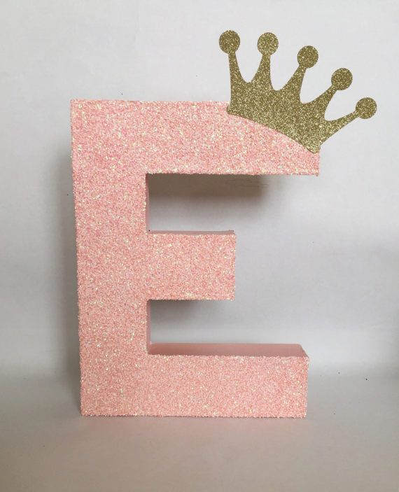 Glitter Stand Up Letter Initial Birthday Party Photoprop Photoshoot Pink and Gold Princess Theme
